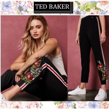 TED BAKER パンツ TED BAKERテッドベイカー★MADLYNE Floral detail trousers