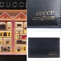 GUCCI Black Card Holder Gold Logo