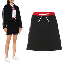 MM774 RACING STRIPES COTTON FLEECE MINI SKIRT
