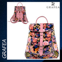 GRAFEA FLORA リュックサック バックパック レザー 花柄 黒