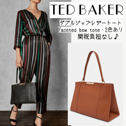 TED BAKER★ダブルジップレザートート/Faceted bow tote/2色あり