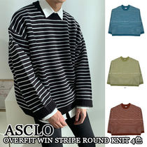 ASCLO★韓国の人気★OVERFIT WIN STRIPE ROUND KNIT 4色
