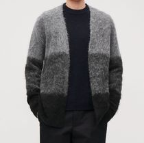 """COS MEN"" FUZZY-TEXTURED CARDIGAN GRAY/BLACK"