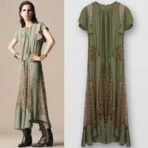 19SS C399 LOOK25 SILK CREPE DRESS WITH LEAVES LACE