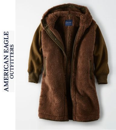 American Eagle Outfitters コート 流行●ボア素材LONGコート●超暖かい●追跡有り便発送:ブラウン