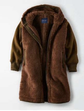 American Eagle Outfitters コート 流行●ボア素材LONGコート●超暖かい●追跡有り便発送:ブラウン(2)