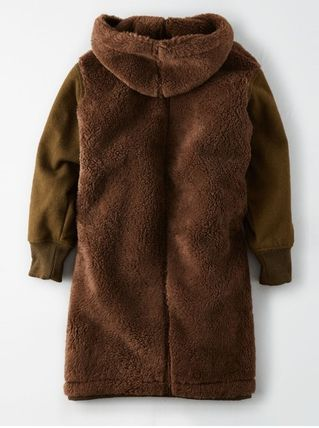 American Eagle Outfitters コート 流行●ボア素材LONGコート●超暖かい●追跡有り便発送:ブラウン(3)
