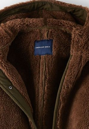 American Eagle Outfitters コート 流行●ボア素材LONGコート●超暖かい●追跡有り便発送:ブラウン(4)