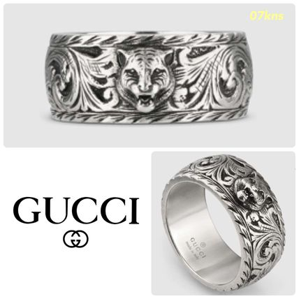 d50af90754 【GUCCI 】Thin silver ring with feline head