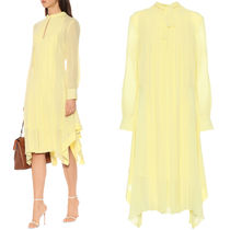 19SS C414 SILK CREPE CASCADE DRESS WITH BOW