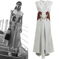 19SS C415 LOOK43 SATIN CREPE DRESS WITH HORSE APPLIQUE