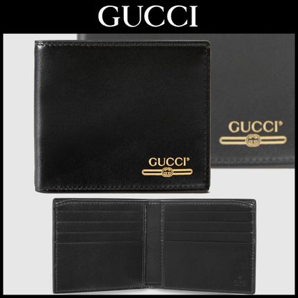 ☆GUCCIグッチ☆レザー折り財布/Leather wallet with Gucci logo