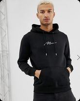 関税・送料込みboohooMAN Hoodie With Man Embroidery In Black