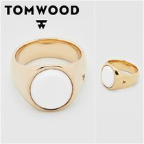 国内発送★TOM WOOD★Oval Gold White Agateリング