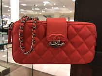 ALL IN ONE★2019CHANEL★CC BOX CLUTCH W/ CHAIN/PHONE HOLDER