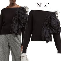 【19SS】★No21★Feather and ruffle-trimmed sweater