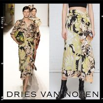 Runway【Dries Van Noten】 Draped Cotton floral Skirt