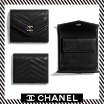 19SS【CHANEL】 Petit portefeuille フラップ付き ゴートスキン
