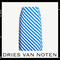 関税込【Dries Van Noten】Striped crepe midi skirt
