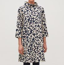 """COS""  STAND-UP COLLAR PRINTED DRESS NAVY/WHITE"