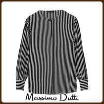 MassimoDutti♪STRIPED BLOUSE WITH FRONT DETAIL