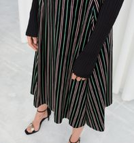 """""""& Other Stories"""" Striped Satin A-Line Skirt Black"""