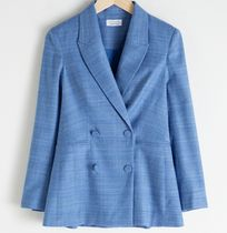 """& Other Stories"" Double Breasted Plaid Blazer Blue"