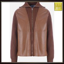 【PRADA】ribbed knit jacket with leather inserts