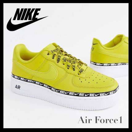 online retailer 5a68e 645d7 Nike スニーカー Nike Yellow Air Force 1 Swoosh Tape Trainers イエロー 厚底 ...
