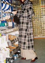 """""""& Other Stories"""" Belted Plaid Trench Coat Black"""