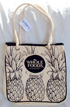 WHOLE FOODS MARKET(ホールフーズマーケット) トートバッグ 【1-2日到着】Tag Aloha●WHOLE FOODSロゴ入コットントート●白