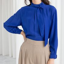 """""""& Other Stories"""" Straight Fit Pussy Bow Blouse Blue"""