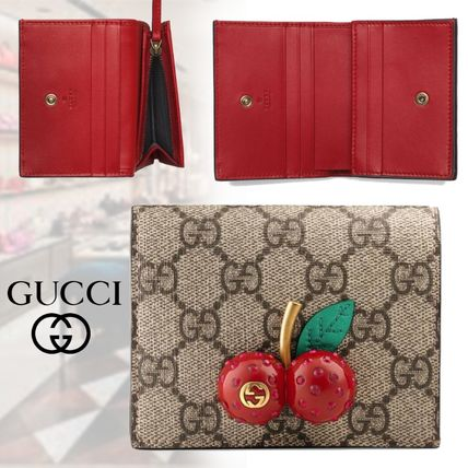 hot sale online fc056 4a752 翌日発送 GUCCI チェリー付き GG カードケース / ミニ財布 新作