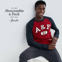 SALE【A&F】長袖 ロゴ ラグラン トップス レッド / 送料無料