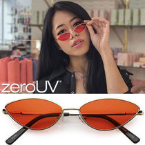 全4色*zeroUV*retro-1990s-color-tone-metal-cat-eye-sunglasses