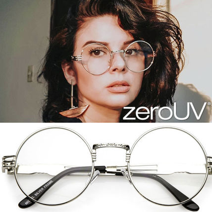 全3色*zeroUV*retro-dapper-round-metal-clear-lens-glasses