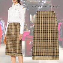 【19SS】★Dries Van Noten★Checked cotton and silk skirt