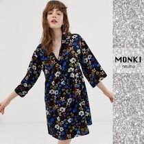 MONKI FLORAL プリント シャツ ワンピ