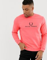 Fred Perry large logo crew neck sweat in pink