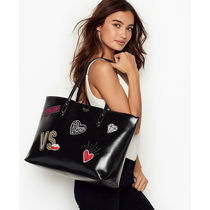 VICTORIA'S SECRET Patch Everything Tote Bag光沢素材ブラック