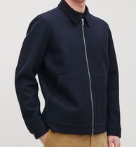 """COS MEN""  CORDUROY-COLLAR WOOL JACKET DEEP BLUE"