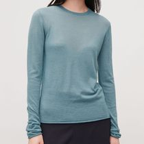 """COS""   MERINO ROUND-NECK JUMPER LIGHT TURQUOISE"