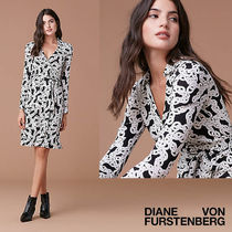 DVF New Jeanne Two★シルクジャージーラップドレス★チェーン柄