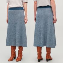 """COS"" DROP-NEEDLE STITCH KNIT SKIRT BLUE"