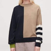 """COS"" COLOUR-BLOCK WOOL JUMPER CAMEL/NAVY"