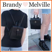 ☆Brandy Melville☆Gold Buckle Mini Faux Leather Backpack