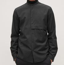 """COS MEN"" GRANDAD-COLLAR SHIRT WITH POCKET BLACK"