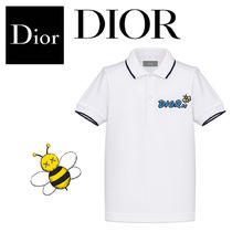 【DIOR】新作BEEキッズ★ロゴ×ミツバチ コットンポロシャツWH