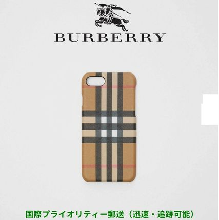 Burberry スマホケース・テックアクセサリー BURBERRY Vintage Check and Leather iPhone 8 Case