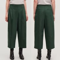 """COS"" CROP COTTON PLEATED TROUSERS GREEN"